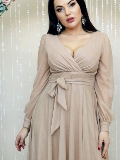 Вечернее светлое нарядное платье в пол на длинный рукав, фото 1
