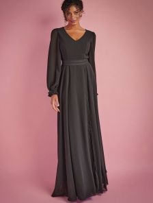 Нарядное шифоновое платье в пол на длинный рукав