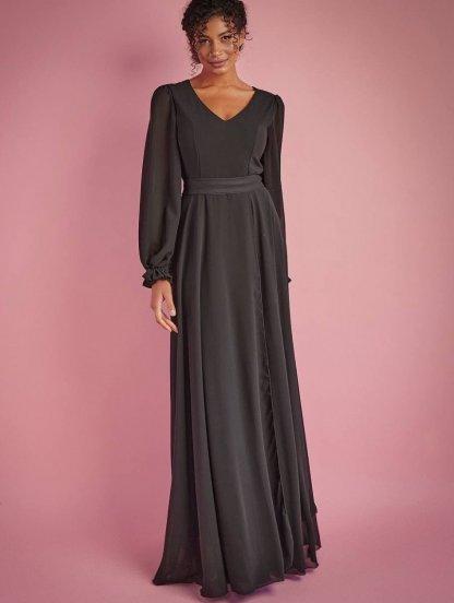 Нарядное шифоновое платье в пол на длинный рукав, фото 1