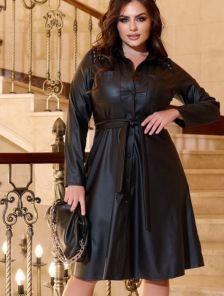 Черное платье-рубашка миди длины в больших размерах