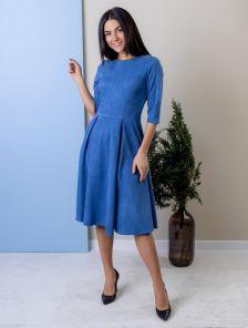 Красивое платье джинсового цвета миди длины