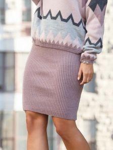 Вязанная пудровая юбка карандаш