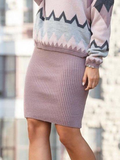 Вязанная пудровая юбка карандаш, фото 1