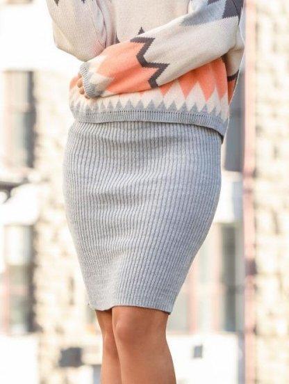 Вязанная светло-серая юбка карандаш, фото 1
