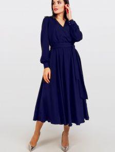 Нарядное синее шелковое платье миди на длинный рукав