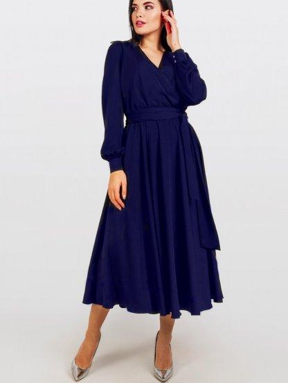 Нарядное синее шелковое платье миди на длинный рукав, фото 1