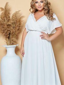 Нарядное шифоновое белое платье большого размера в пол