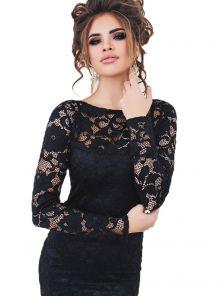 Вечернее гипюровое платье по фигуре на длинный рукав