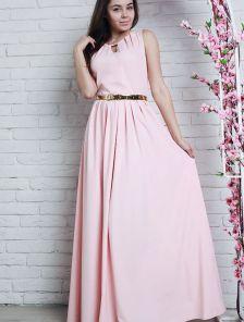 Роскошное нежно-розовое платье в пол с золотистым ремешком