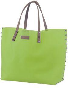 Пляжная сумка салатового цвета с силикону на ручках средней длинны