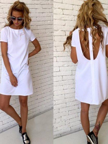 Белое короткое платье с открытой спинкой прямого силуэта, фото 1
