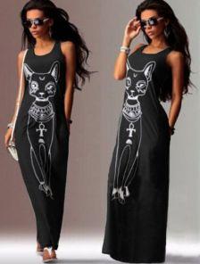 Оригинальное черное платье с принтом в египетском стиле