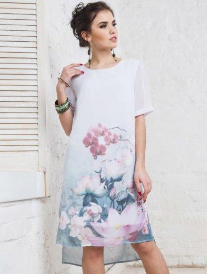 Свободное шифоновое платье с цветочным принтом, фото 1