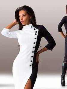 c3b2afa70894 Облегающее черно-белое платье ниже колена с пуговицами. Купить в ...