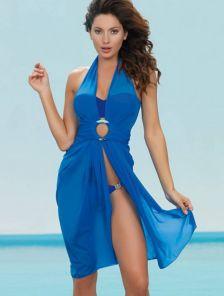 Синее короткое пляжное платье-трансформер