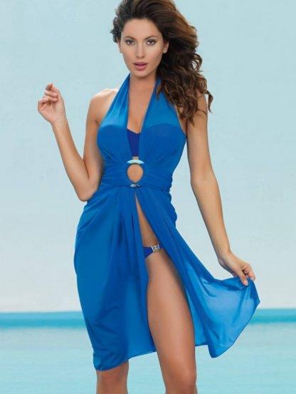 Пляжное платье-трансформер в синем цвете