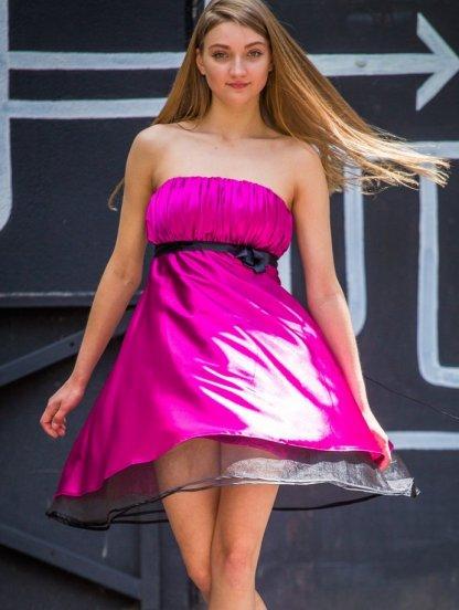 Вечернее короткое платье - бюстье с поясом, фото 1