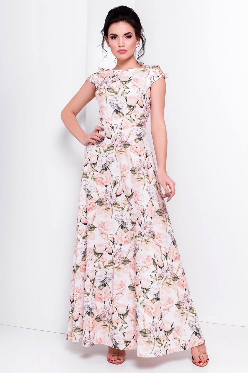 Изящное платье в нежные цветы. Купить в Киеве с бесплатной доставкой  размеров на выбор. 30 дней на возврат. Бесплатная доставка по всей Украине e40c21917d7