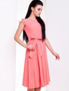 Коралловое платье миди с открытой спинкой. Купить в Киеве с ... e82352a584c