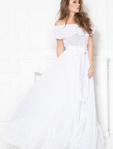 Белое свободное летнее платье в пол с воланами