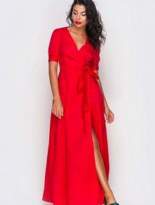 Хлопковое платье на запах насыщенного красного цвета