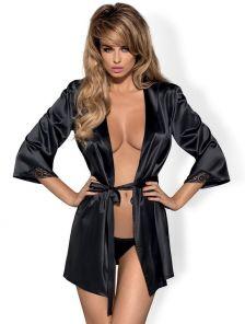 Элегантный атласный халат в черном цвете