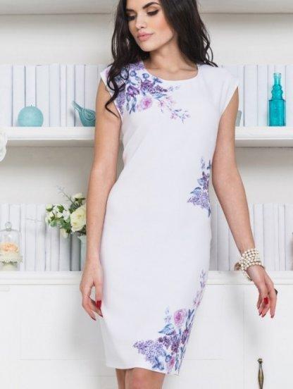 Легкое белое платье футляр с цветами, фото 1