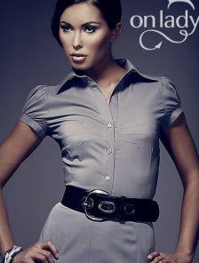 Классическая серая офисная рубашка с коротким рукавом