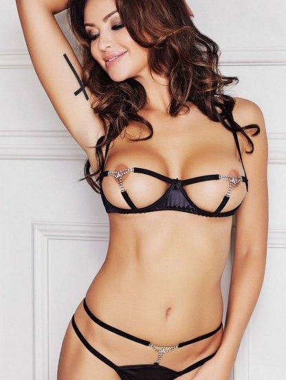 Сексуальный комплект белья с открытыми сосками, фото 1