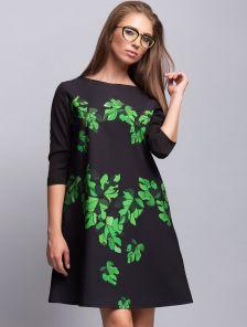 """Яркое и стильное платье-трапеция с принтом """"Листья"""""""
