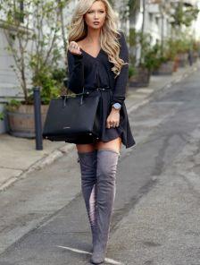 Черное теплое ангоровое короткое платье -туника