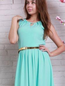 Длинное голубое платье на лето