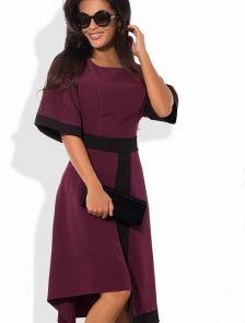 Платье с асимметричной юбкой и рукавами-воланами цвета марсал