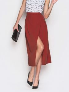 Необычная юбка на запах миди длины теракотового цвета