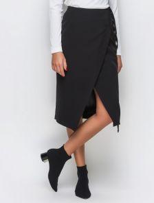 Черная нестандартная и необычная юбка на запах