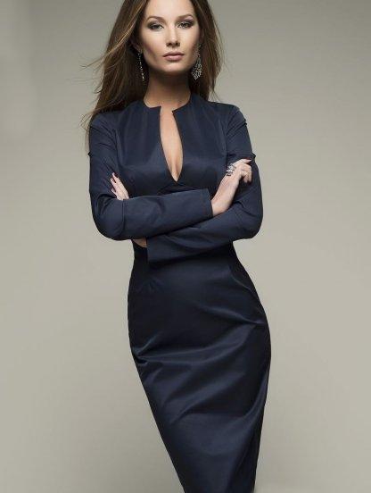 Классическое темно-синее платье-футляр с длинным рукавом, фото 1