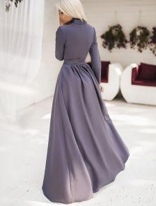 Длинное нарядное платье с запахом и длиннным рукавом