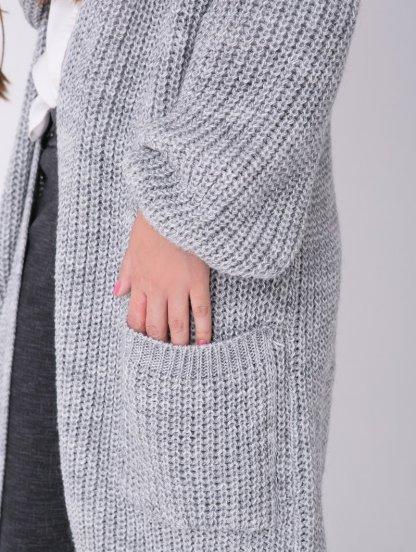 Уютный серый кардиган с крупной вязкой, фото 1