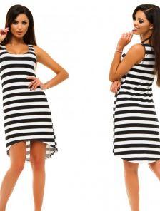 Полосатое платье с удлиненной спинкой