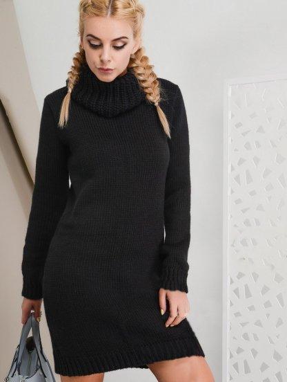 Вязаное платье на зиму с теплым массивным воротником, фото 1