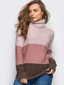Объемный вязаный свитер под горло
