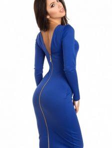 Стильное  платье-футляр с молнией сзади в костюмной креповой ткани