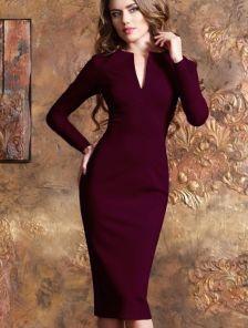 Офисное платье-футляр с длинным рукавом