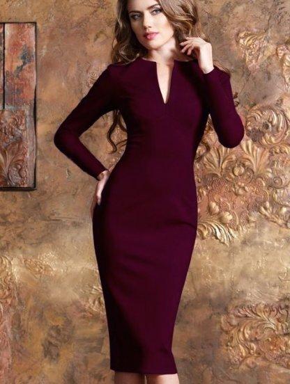 Офисное платье-футляр с длинным рукавом, фото 1