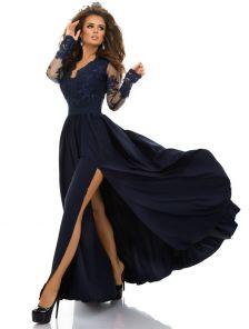 Вечернее длинное платье синего цвета с разрезом