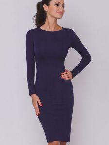 Синее платье футляр на длинный рукав