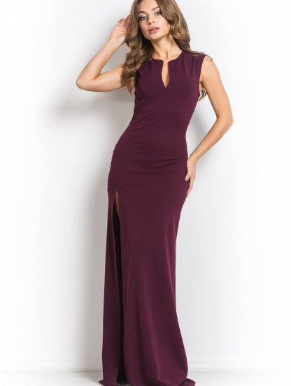 Приталенное длинное платье с разрезом на ноге, фото 1