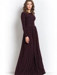 Красивое вечернее платье в пол с густо драпированной юбкой
