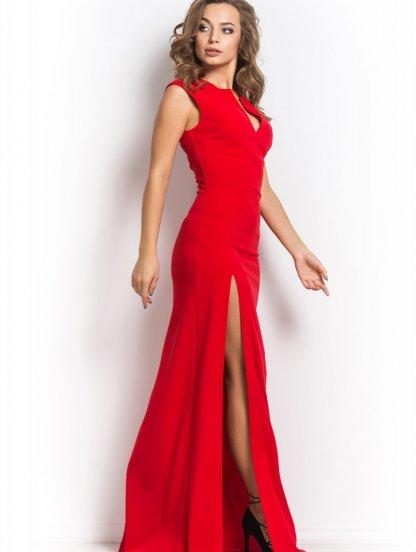 Длинное красное платье с разрезом, фото 1