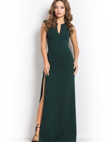 Зелёное длинное платье без рукавов, фото 1